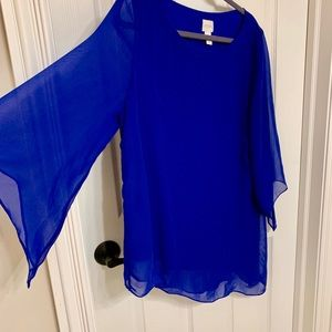 Bold blue Chico's top sheer sleeves